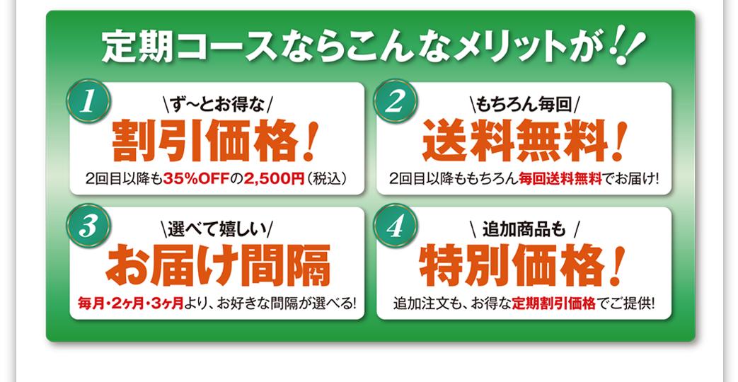 定期コースならこんなメリットが!1割引価格、2送料無料、3お届け間隔を選べる、4特別価格